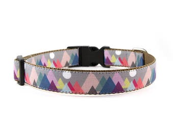 Mountains Dog Collar // Size S-XL // Adjustable Length // Fabric: The Mountains Are Calling