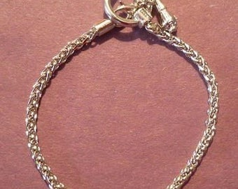 Silver Plated Toggle Clasp Pand*ra Style Chain Bracelet 8""