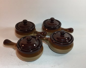Vintage Stoneware Onion Soup Chili Bowls Crocks With Handles and Lids Set of 4
