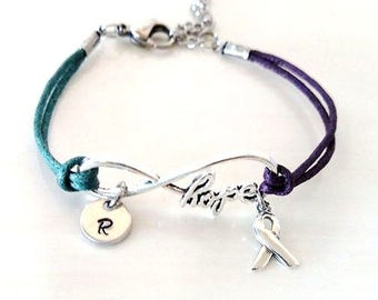 Teal Purple HOPE Infinity Bracelet You Choose Your Cord Color(s) and Optional Letter Initial and/or Ribbon Charm