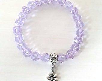 Lilac Purple Twisted Helix Glass Beaded Flower Stretch Charm Bracelet