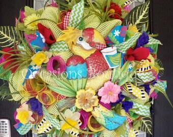 Spring Wreath, Summer Wreath, Front door wreath, Floral wreath, Wreath for Spring, Wreath for Summer, Large Wreath, Door Hanger