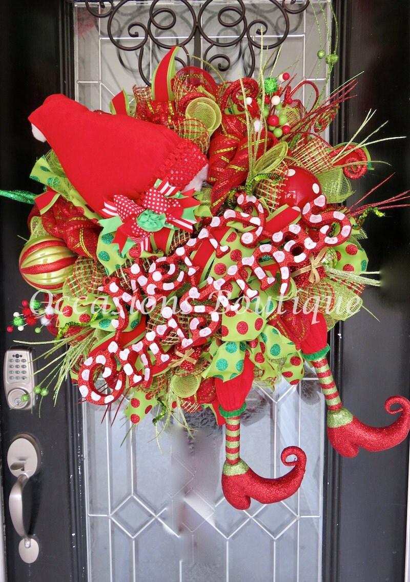 Christmas wreath holiday wreath elf wreath front door for Front door xmas wreaths