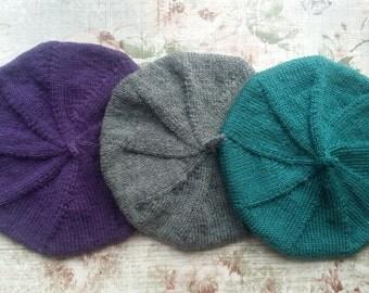 Beret Knitting Pattern - Knitted Hat Pattern - Beret - Tam Pattern - Easy Hat Pattern - Double Knit Hat Pattern - Simple Knitting Pattern