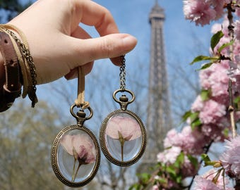 One Vintage Cherry blossom sakura necklace clock japanese pink flower necklace dried flowers in resin spring botanical jewelry gift boho