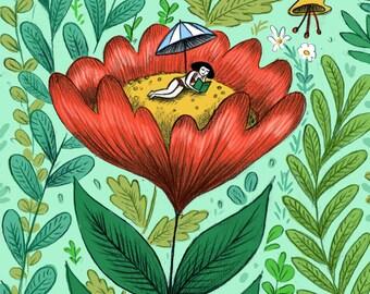 Flower Gal Greetings Card