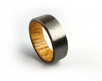 Whiskey Barrel Ring, Titanium Ring, Whiskey Ring, Jack Daniel's Ring, Oak Wood Ring, American Ring, Men's Wedding Ring, Women's Wedding Ring