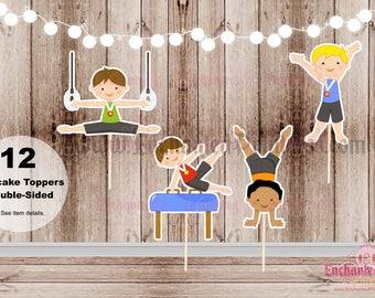 Boys Gymnastics Collection Toppers - Set of 12 Double Sided Assorted Birthday Cupcake Toppers - Food Picks - Party Picks