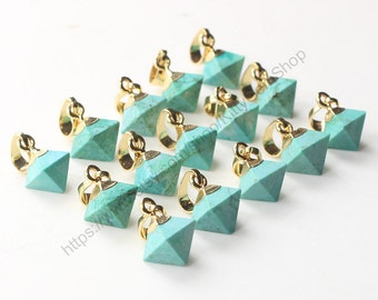 Tiny Diamond Turquoise Pendants -- With Electroplated Gold Edge Charms Wholesale Supplies CQA-029