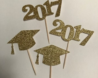 Graduation, Graduation Cake topper,  Graduation Party, Graduation Decor, Graduation Cupcake topper, Class of 2017, Graduation Cake