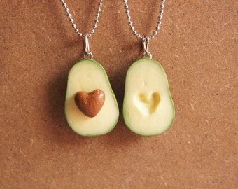 Avocado BFF Necklace - Miniature Food Jewelry, Polymer Clay Food. Miniature Avocado. Gifts. BFF. Inedible Jewelry.