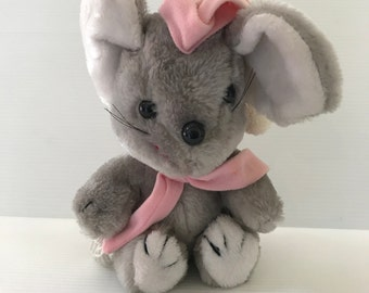 STUFFED GRAY MOUSE, Vintage plush mouse, cute plush mouse, mouse with hat, Squeaky plush mouse, mouse for girl, vintage gift for her