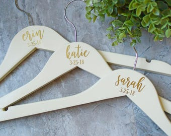 Personalized Bridesmaid Hangers, Gold Wooden Wedding Hangers, Bride Hanger, Wedding Dress Hanger, Gold and Ivory