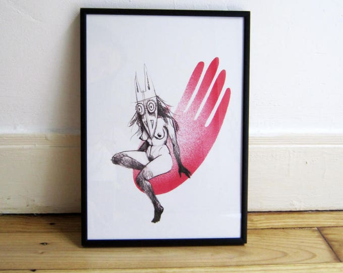 Digital Print, masked woman on red hand, A4 eco-friendly Print on heavyweight recycled paper