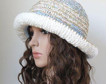 White Cotton Hat, Floppy Brimmed Hat, Boho Hat, Crochet Sun Hat, Soft Light Blue Summer Accessories, Festival Fashion