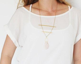 Gold Bar Necklace, Gold Boho Bar Necklace, Statement Tribal Bar Necklace, Boho Chic Horizontal Necklace.