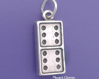DOMINO Charm .925 Sterling Silver Dominoes Game Piece Pendant - lp2150