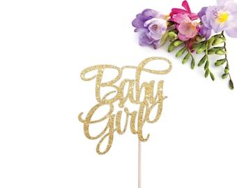 Baby Girl Cake Topper - Baby Shower Cake Topper - Girl Baby Shower Cake Topper - It's a Girl Cake Topper - Baby Girl - Gold Cake Topper