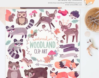 GET 3 FOR 2. Watercolor Woodland Clipart. Watercolour Raccoon, Bear, Deer, Stag, Banner, Owl, Hedgehog, Cute Handdrawn Transparent Clip.