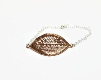 rose gold bracelet, rose gold leaf bracelet, bridesmaid gift, wedding leaf jewelry, adjustable romantic bracelet