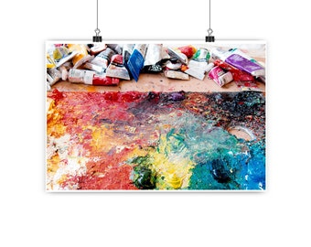 Still life photograph, multicolour, colour photography, abstract, paint palette, still life, wall art, fine art print - Artist's palette