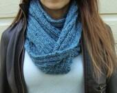 Blue Multi Hand Knit Acrylic Infinity Scarf - Women's Scarf - Vegan Scarf - Blue Infinity - Blue Scarf - Acrylic Scarf - Acrylic Infinity