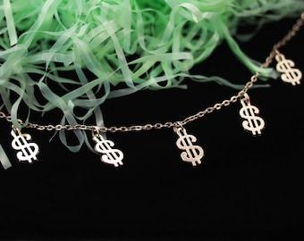 Money Necklace, Money Choker, Dollar Necklace, Pastel Goth Clothing, Dollar Sign Necklace, Pastel Grunge Choker, Lucky Necklace VintageLoser
