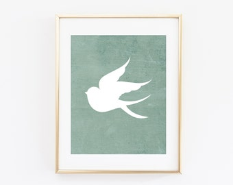 Sparrow Print, Nursery Printable, Bird Silhouette, 8x10 Art Print, Mint Green, Aqua, Teal Blue Sparrow Printable, Instant Download