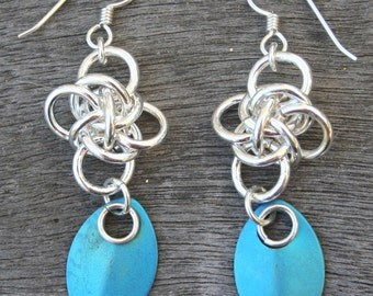 Handmade Sterling Silver Persephone Diamond Weave with Titanium Teal Blue Chain Maille Chain Mail Dangle Earrings