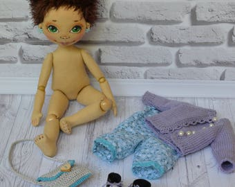 Handmade textile doll. Rag doll. Cloth doll. Ready to ship!