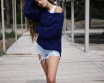 Off shoulder grunge sweater, loose fitting open knit pullover, midnight blue loose weave knitted sweater, oversized jumper