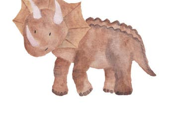 Dinosaur Watercolor Triceratops- Nursery Room or Playroom art print