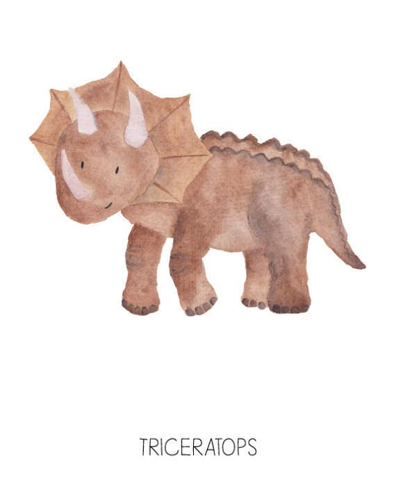 Dinosaur Watercolor Triceratops- Nursery Room or Playroom art print