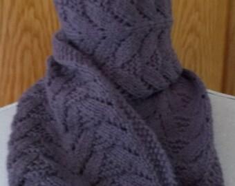 Purple  Scarf  - made from  wool and alpaca yarn