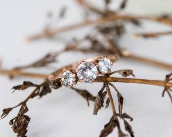 14k rose gold and white sapphire three stone engagement ring, rose gold engagement ring