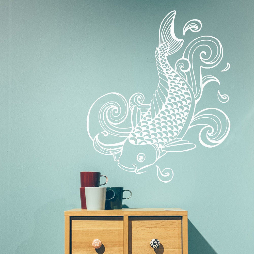 Wall decal japanese style koi koi sticker tattoo style for Koi wall decal