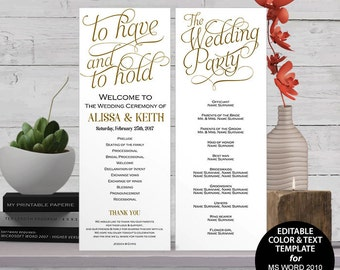 Printable, wedding program, Wedding program template download, DIY, editable programs, Instant download, ceremony, S1