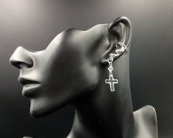 Swarovski Faceted Cross Ear Cuffs, sparkly, beautiful, with Swarovski Crystals and Sterling Silver Wire and Beads. Comfortable, elegant.