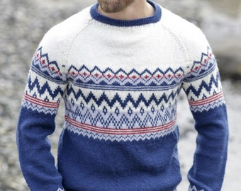 Knitted jumper for men, Norwegian jumper, Norway jumper for man, knit jumoer for man, Hand knitted sweater, Norwegian sweater.