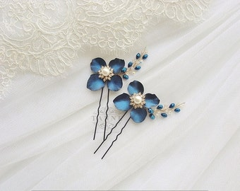 Navy Blue Flower Hair Pins, Blue Wedding Hair Accessories, Blue Bridal Hair Pins, Hair Piece, Blue Flower Bobby Pins, Navy Hair Clips, Gold