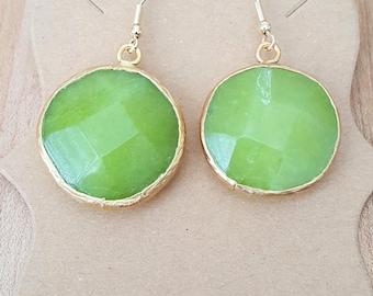 Gold Filled Green Jade Stone Earrings / Dangle Earrings / Drop Earrings / Jade Stone Earrings / Large Faceted Stone Round Jade Earrings