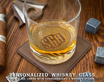 Groomsmen Gift, Personalized Whiskey Glasses, Custom Whiskey Rocks, Whiskey Stones, Wedding Gift, Engagement Gift, Engraved Whiskey Glass