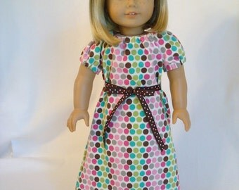 Polka Dot Nightgown for American Girl Doll and 18-inch Dolls - Doll Polka Dot Knit Summer Nightgown