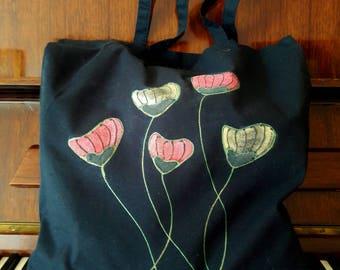 Poppies bag, black cotton tote bag, hand painted bag, red poppy painted bag, book bag, grocery bag, shoulder bag, cotton bag, Unique Item