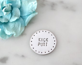 Kick Putt Golf Marker | Hand Stamped, Stainless Steel, Custom Gift | Father's Day, Dad or Grandpa Birthday, or Christmas