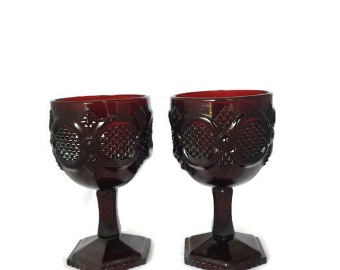 2 Large Ruby Red Goblets | Avon Cape Cod 1876 Collection in Original Boxes