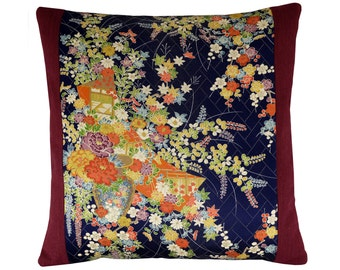 "Asian Pillow Cover, Floral Kimono Pillow, Japanese Blossoms Cushion, Red and Black Cushion Cover 16x16"", Asian Home Decor"