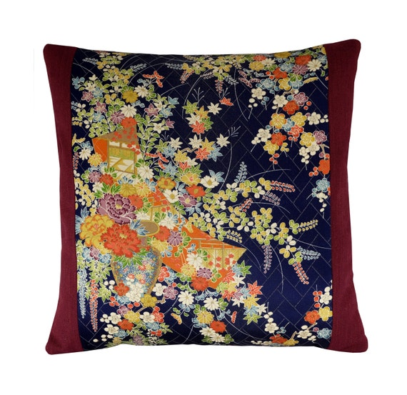 Japanese Oriental Floral Pillow Cover Throw Pillow Asian