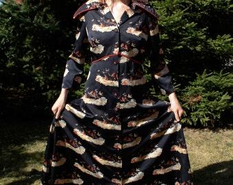 Vintage 1940s/1950s Glamorous Festive Robe, Housecoat, Dressing Gown. Christmas Robins.