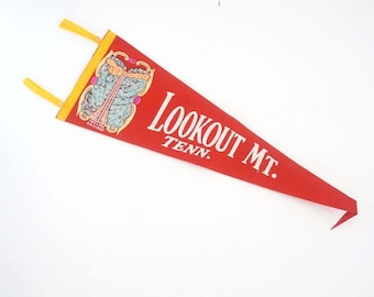 Vintage Souvenir Banner - Lookout Mt. Tennessee Travel Pennant